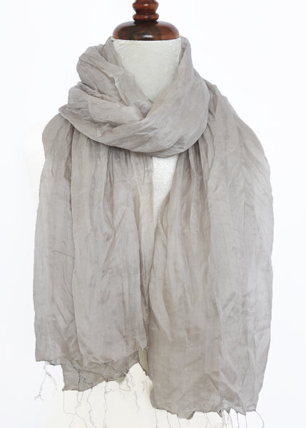 Crinkled Silk Scarves - Opal Gray