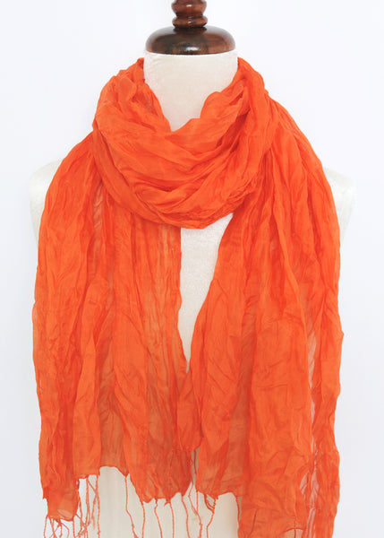 Crinkled Silk Scarves - Orange