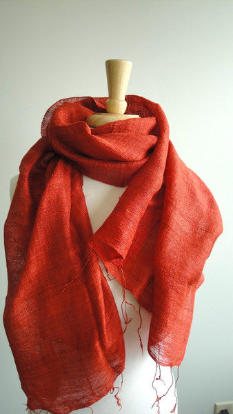 Soft Textured Silk Scarf in Koi Orange