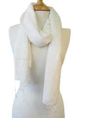 Silk with Cotton Scarf in White