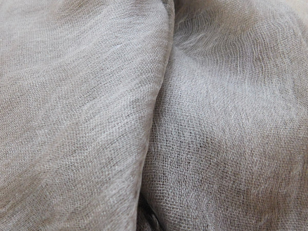 Soft double layer silk w cotton scarves in Ash