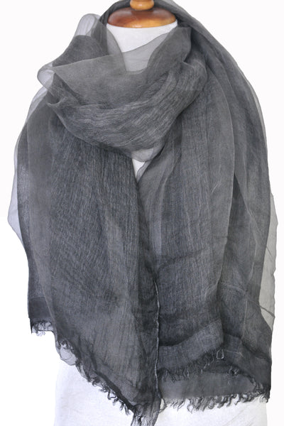 Soft double layer silk w cotton scarves in Charcoal