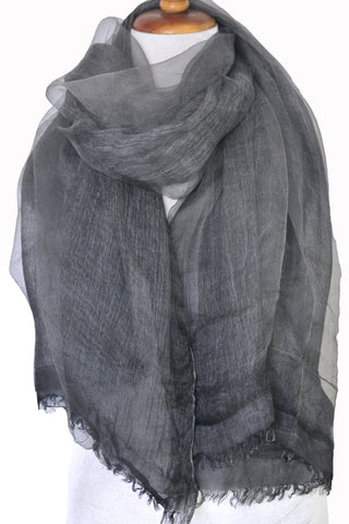 Soft double layer silk w cotton scarves in Charcoal -  ETA Aug 24