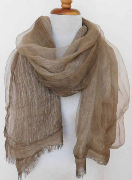 Soft double layer silk w cotton scarves in Elk Brown - ETA Oct 30