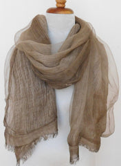 Soft double layer silk w cotton scarves in Elk Brown