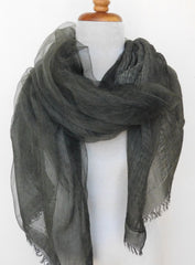 Soft double layer silk w cotton scarves in Ardennes green