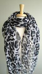 Large Cheetah Print Scarf in Black
