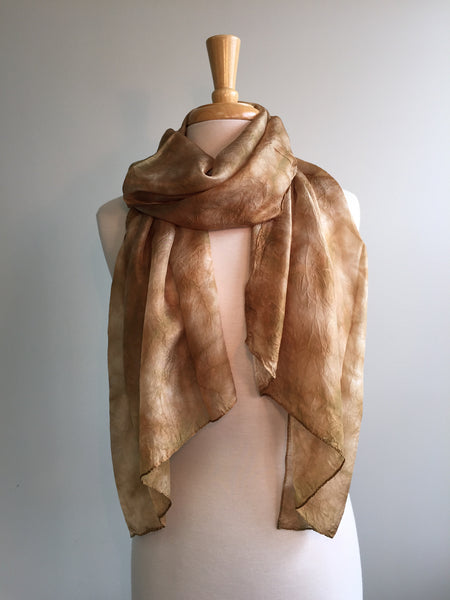 Narrow Silk Watercolor Scarf - Brown