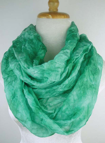 Narrow Silk Watercolor Infinity - Emerald
