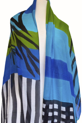 Mod Art Silk w Cotton Scarf - Blue w Green Channels
