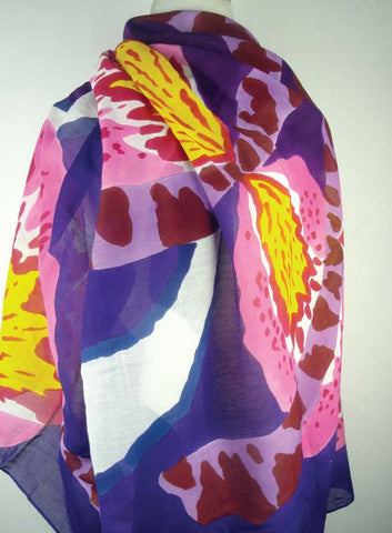 Hand-Painted Silk w Cotton Scarf - Purple Botanic
