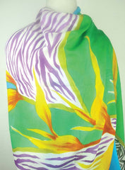 Hand-Painted Silk w Cotton Scarf - Violet w Green Botanic