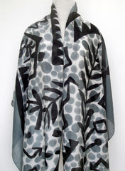 Mod Art Silk w Cotton Scarf - Jungle Night