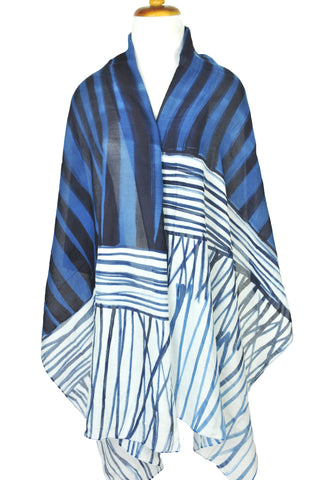 Mod Art Silk w Cotton Scarf - Ribbons w Grass Blue