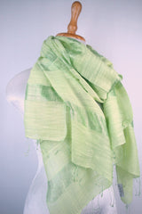 Ladder stripe VN silk scarf - Light  Green
