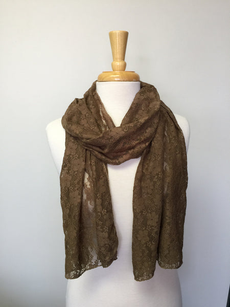 Solid lace scarf in olive