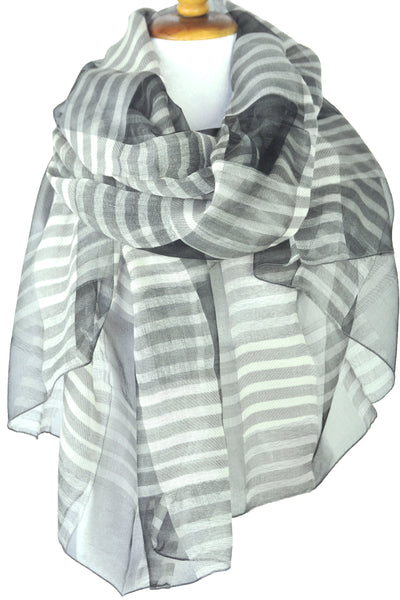 Silk w Wool Alternating Stripe - Gray & White