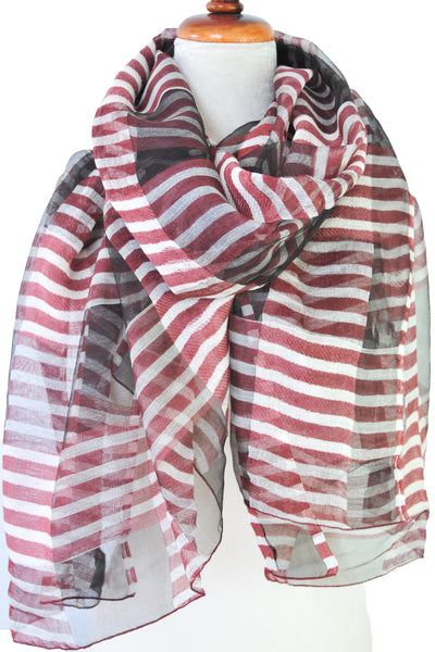 Silk w Wool Alternating Stripe - Red & White