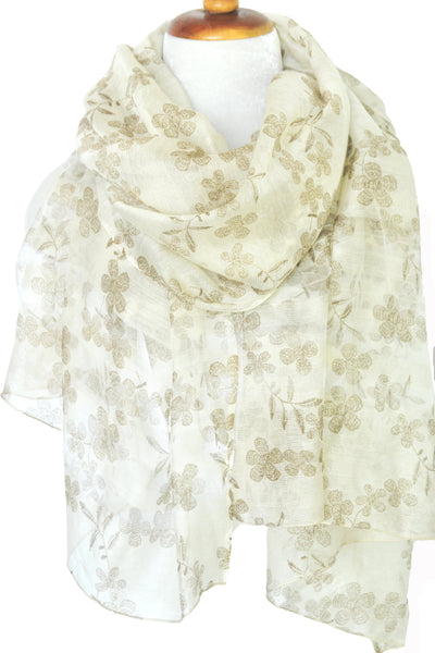 Silk w Wool Embroidered Flowers - Natural