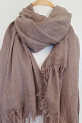 Oversized Modal Solid Scarf in Taupe