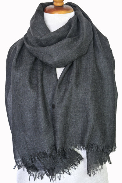 Oversized Modal Solid Scarf in Charcoal  - ETA Mar 20