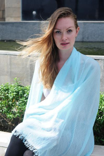 Oversized Modal Solid Scarf in Light Blue