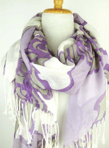 Cotton Floral Print Scarf in Violet