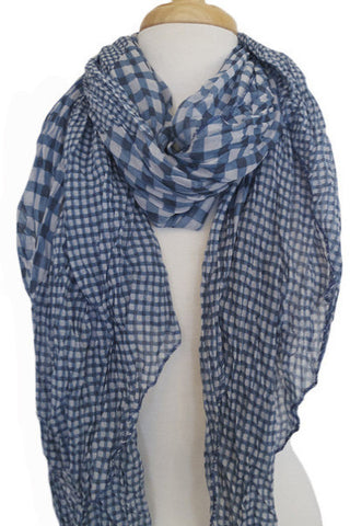 Silk & Cotton Geo Print Scarf in Blue