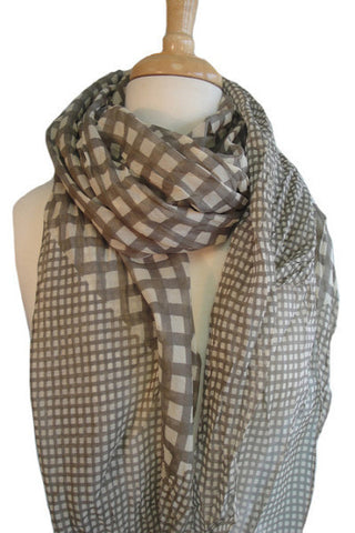 Silk & Cotton Geo Print Scarf in Khaki