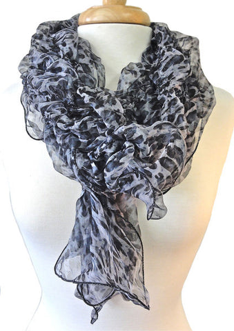 Leopard Print Crushed Silk Scarf in gray
