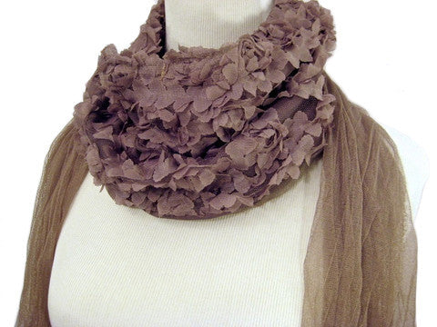 Rose Veil Scarf in Chocolate