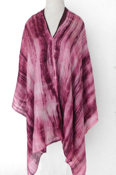 Double layer silk poncho - Aurora red