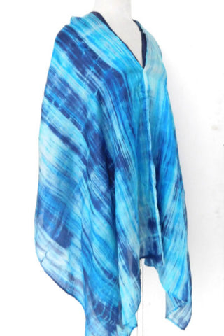Double layer silk poncho - River Blue