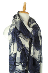 Merino Scarf in Evening Flower - Blue