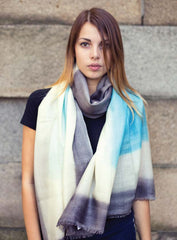 Merino Block Print Scarf in Blue