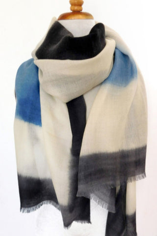 Merino Block Print Scarf in Riverside Blue