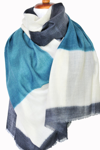 Merino Block Print Scarf in Teal - ETA Dec 18