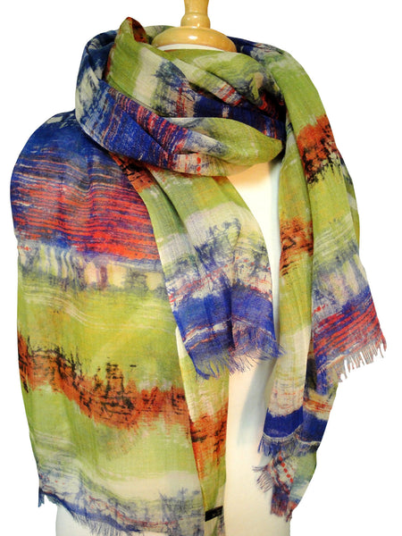 Muted Autumn Color Vista Wool Scarf in Lime