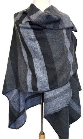 Ruana Striped Shawl in Black & Gray
