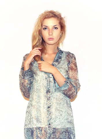 Silk w Poly Animal Print Long Shirt - Blue