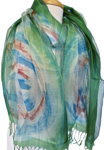 Weather Circles Silk & Viscose Scarf in Green