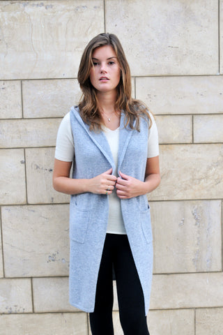 Cashmere Merino Knit Long Hoodie Vest - Light Gray
