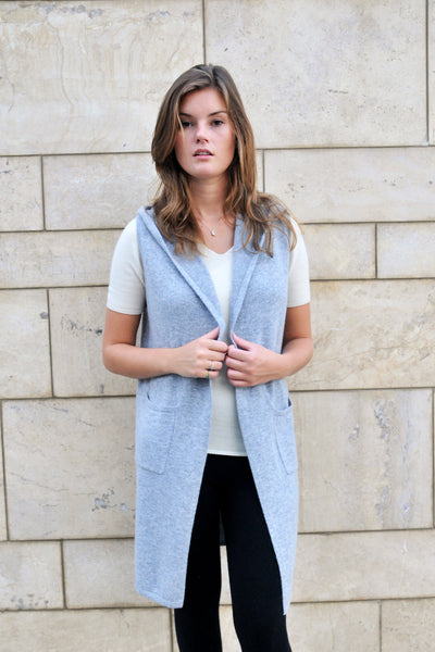Cashmere w merino long hoodie vest - Light Gray