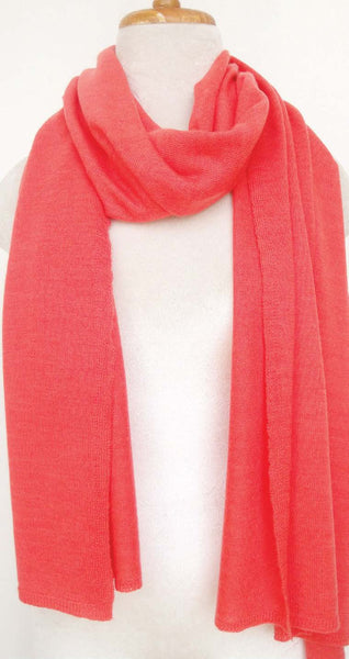 Cashmere Knit Scarf - Emberglow red