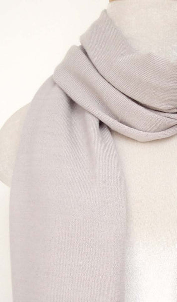 Cashmere Knit Scarf - Light Gray