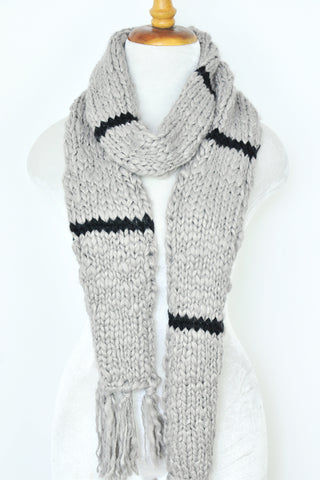 Acrylic Knit Scarf - Light Gray