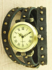 Studded black leather quartz watch