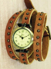 Studded brown leather quartz watch
