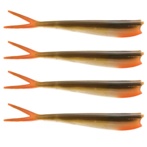 "Twin Teez 8"" (204mm) No Action V Tail Shad Bass Orange"