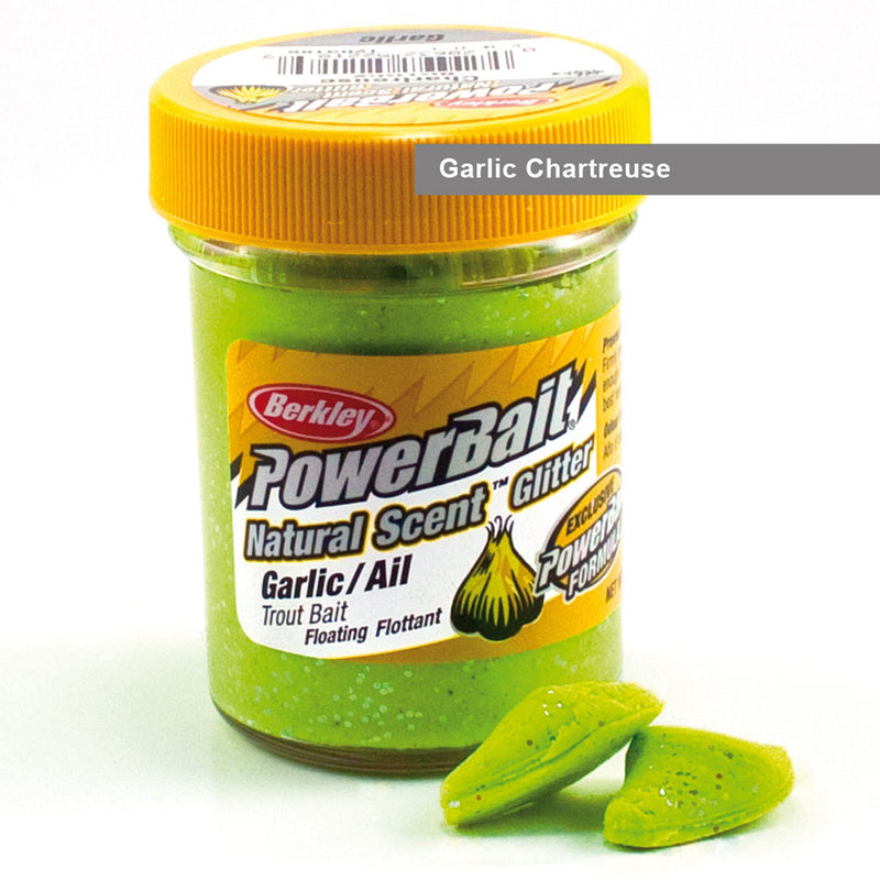 Powerbait Natural Scent Trout Bait Glitter Garlic Chartreuse